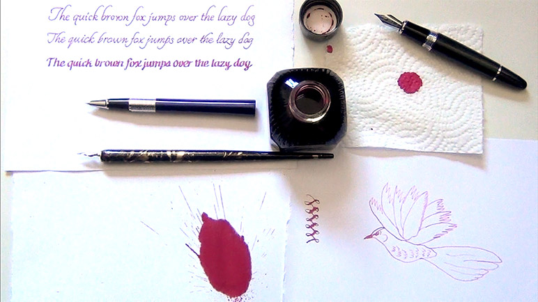Diamine-Amaranth-Ink-Review-artistic-photo